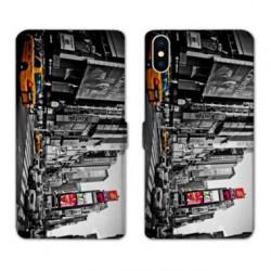 RV Housse cuir portefeuille pour Samsung Galaxy A01 Amerique USA New York Taxi