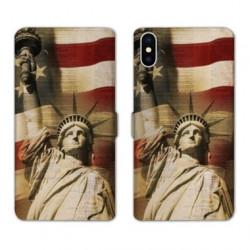 RV Housse cuir portefeuille pour Samsung Galaxy A01 Amerique USA Statue liberté