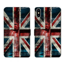 RV Housse cuir portefeuille pour Samsung Galaxy A01 Angleterre UK Jean's