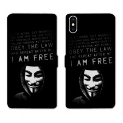 RV Housse cuir portefeuille pour Samsung Galaxy A01 Anonymous I am free