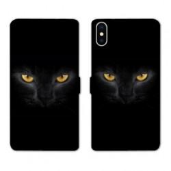 RV Housse cuir portefeuille pour Samsung Galaxy A01 Chat Noir