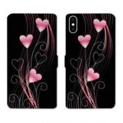 RV Housse cuir portefeuille pour Samsung Galaxy A01 Cœur rose Montant