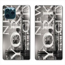 RV Housse cuir portefeuille pour Huawei P40 Amerique USA New York