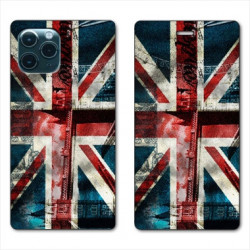 RV Housse cuir portefeuille pour Huawei P40 Angleterre UK Jean's