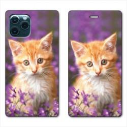 RV Housse cuir portefeuille pour Huawei P40 Chat Violet