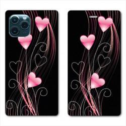 RV Housse cuir portefeuille pour Huawei P40 Cœur rose Montant