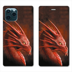 RV Housse cuir portefeuille pour Huawei P40 Dragon Rouge
