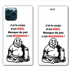RV Housse cuir portefeuille pour Huawei P40 Humour Bouddha