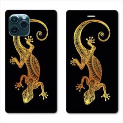 RV Housse cuir portefeuille pour Huawei P40 Pro Animaux Maori lezard noir