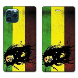 RV Housse cuir portefeuille pour Huawei P40 Pro Bob Marley Drapeau