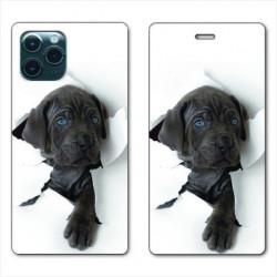 RV Housse cuir portefeuille pour Huawei P40 Pro Chien noir