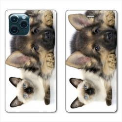 RV Housse cuir portefeuille pour Huawei P40 Pro Chien vs chat