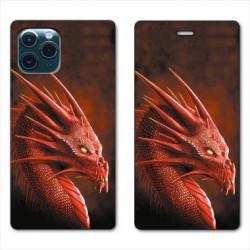 RV Housse cuir portefeuille pour Huawei P40 Pro Dragon Rouge