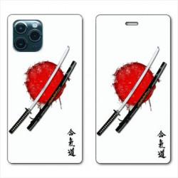 RV Housse cuir portefeuille pour Huawei P40 Pro Japon épée