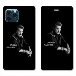RV Housse cuir portefeuille pour Huawei P40 Pro Johnny Hallyday Noir