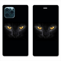 RV Housse cuir portefeuille pour Samsung Galaxy Note 10 Lite Chat Noir