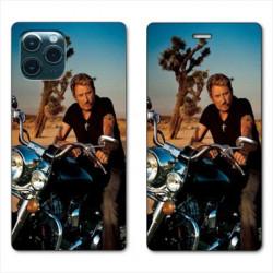 RV Housse cuir portefeuille pour Samsung Galaxy Note 10 Lite Johnny Hallyday Moto
