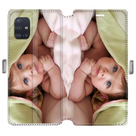 RV Housse cuir portefeuille pour Samsung Galaxy A51 personnalisée recto / verso