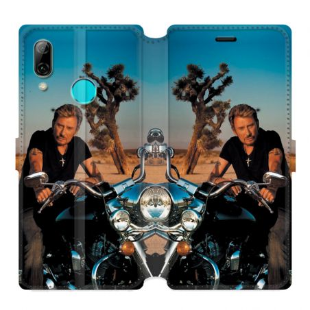 Housse cuir portefeuille pour Huawei Honor 10 Lite / P Smart (2019) Johnny Hallyday Moto