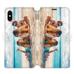 Housse cuir portefeuille Iphone XS Max personnalisee recto / verso