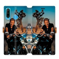 Housse cuir portefeuille pour Huawei P30 LITE Johnny Hallyday Moto