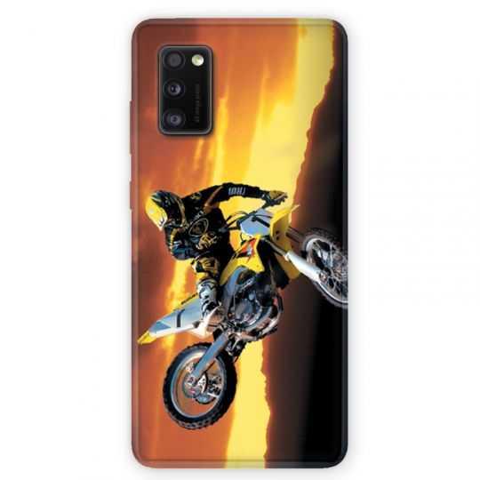 Coque pour Samsung Galaxy A41 Moto Cross Noir