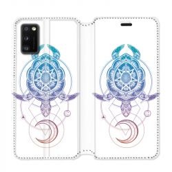 Housse cuir portefeuille pour Samsung Galaxy A41 Animaux Maori tortue color