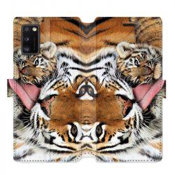 Housse cuir portefeuille pour Samsung Galaxy A41 bebe tigre
