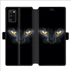 Housse cuir portefeuille pour Samsung Galaxy A41 Chat Noir