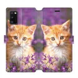 Housse cuir portefeuille pour Samsung Galaxy A41 Chat Violet