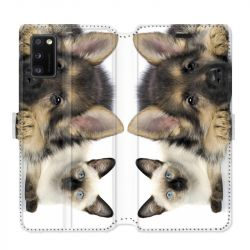 Housse cuir portefeuille pour Samsung Galaxy A41 Chien vs chat