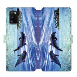 Housse cuir portefeuille pour Samsung Galaxy A41 Dauphin ile