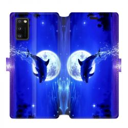 Housse cuir portefeuille pour Samsung Galaxy A41 Dauphin lune