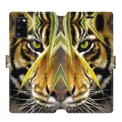 Housse cuir portefeuille pour Samsung Galaxy A41 Oeil tigre