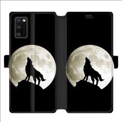 Housse cuir portefeuille pour Samsung Galaxy A41 Loup Noir