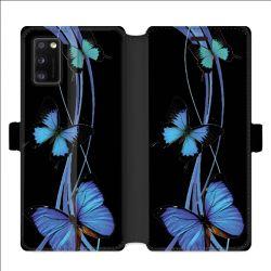 Housse cuir portefeuille pour Samsung Galaxy A41 papillons bleu