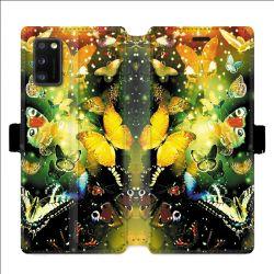 Housse cuir portefeuille pour Samsung Galaxy A41 papillons papillon jaune