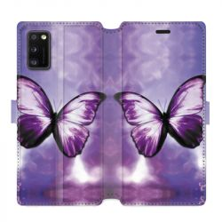 Housse cuir portefeuille pour Samsung Galaxy A41 papillons violet et blanc