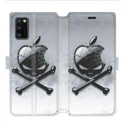 Housse cuir portefeuille pour Samsung Galaxy A41 Pomme Tete mort