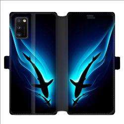 Housse cuir portefeuille pour Samsung Galaxy A41 Requin Noir