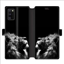 Housse cuir portefeuille pour Samsung Galaxy A41 roi lion