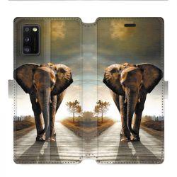 Housse cuir portefeuille pour Samsung Galaxy A41 savane Elephant route