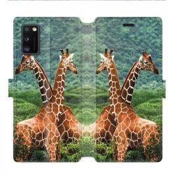 Housse cuir portefeuille pour Samsung Galaxy A41 savane Girafe Duo