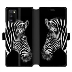 Housse cuir portefeuille pour Samsung Galaxy A41 savane Zebra