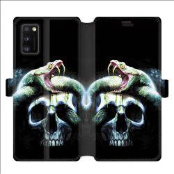 Housse cuir portefeuille pour Samsung Galaxy A41 serpent crane