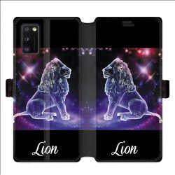 Housse cuir portefeuille pour Samsung Galaxy A41 signe zodiaque 2 Lion