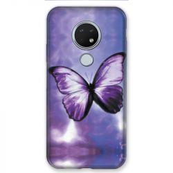 Coque pour Nokia Nokia 6.2 et Nokia 7.2 papillons violet et blanc