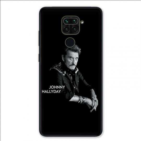 Coque pour Xiaomi Redmi Note 9 - Johnny Hallyday Noir