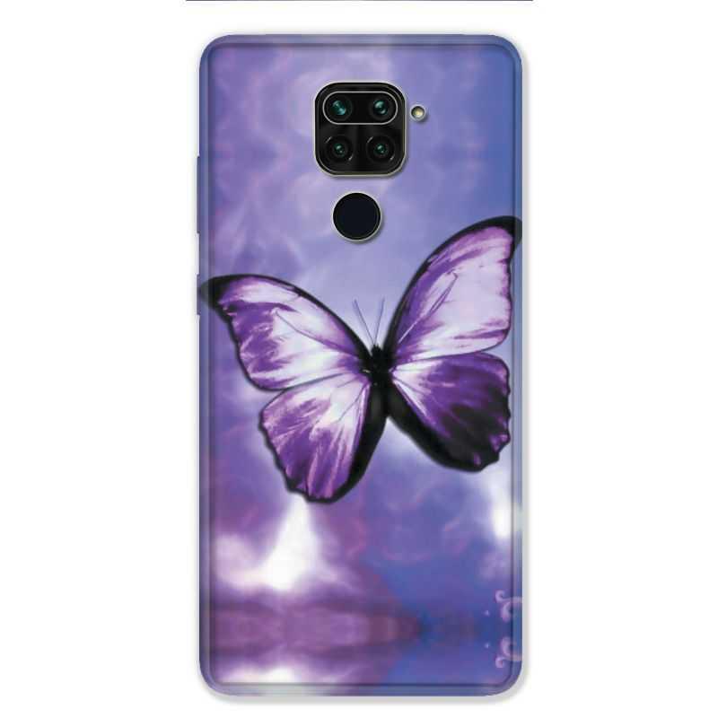 Coque pour Xiaomi Redmi Note 9 - papillons violet et blanc