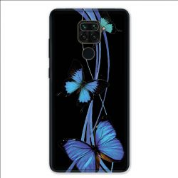 Coque pour Xiaomi Redmi Note 9 - papillons bleu